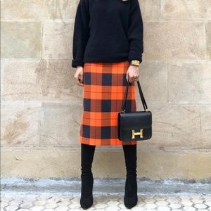 Zara plaid tube midi skirt
